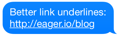 iOS Messages link underlines example